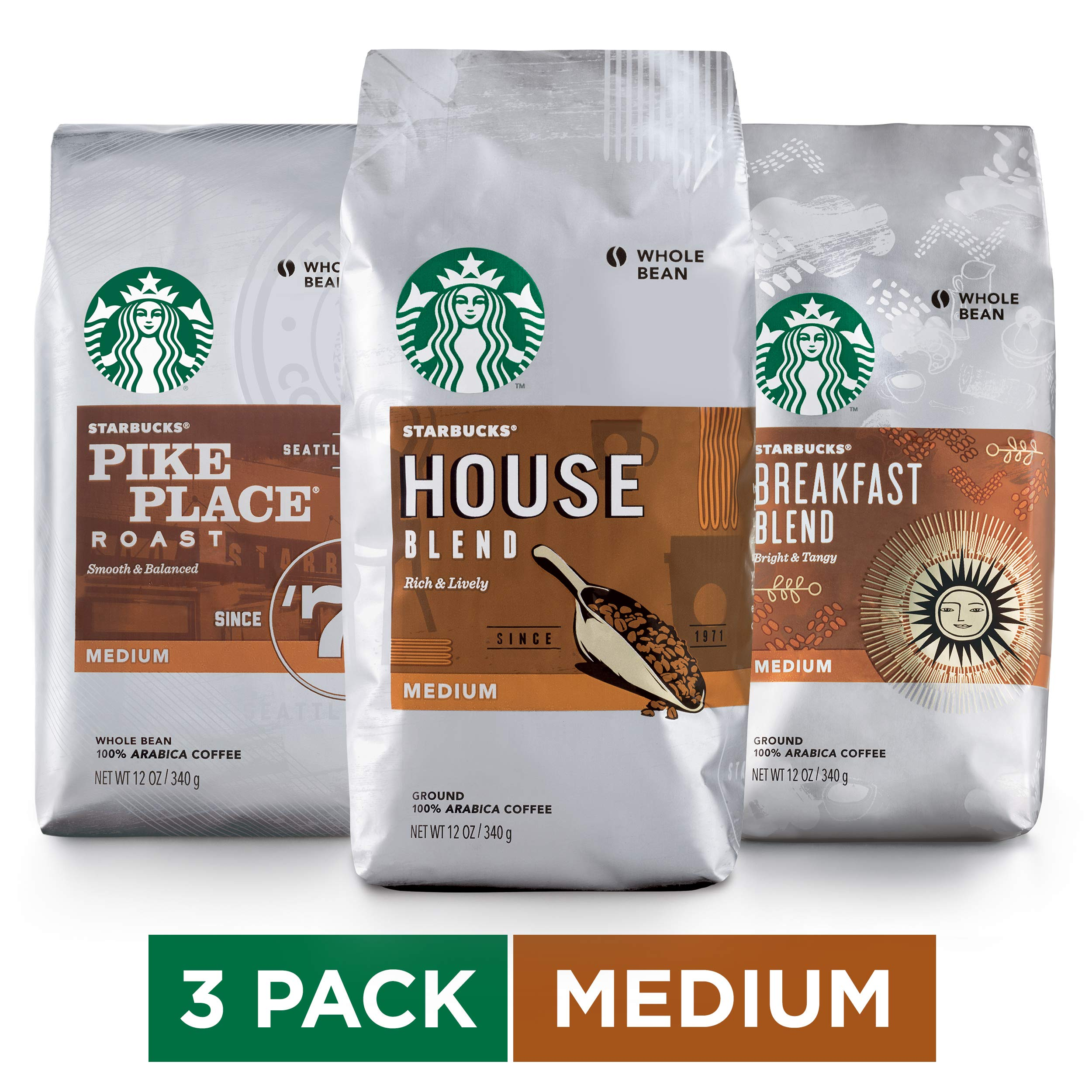 Starbucks Medium Roast Whole Bean Coffee Variety Pack, Three 12-oz. Bags by Starbucks