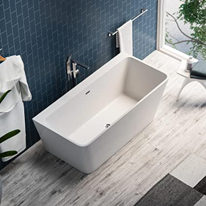 MAYKKE Pompano 59u0026quot; Modern Rectangle Acrylic Bathtub | Freestanding  White Tub In Bathroom, Shower