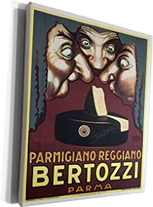 3dRose BLN Vintage Food Labels and Advertising Posters - Vintage Parmigiano-Reggiano Bertozzi Parma Cheese Label - Museum Grade Canvas Wrap (cw_129907_1)