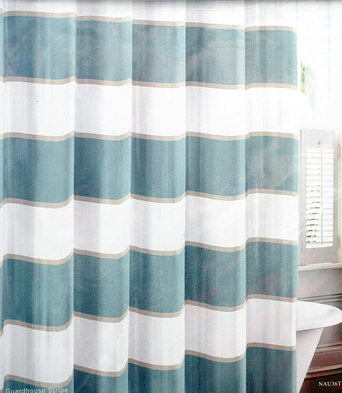 Amazon.com: Nautica Fabric Shower Curtain Wide Green Stripes with ...