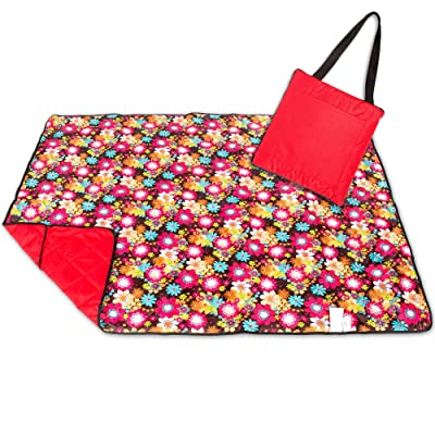 Roebury Picnic Blanket - Portable Outdoor Mat Folds into Tote Bag - Water-Resistant, Sandproof - Large Rug Perfect for Camping, Beach, Festivals, Kids & Babies (Red Sunflowers)