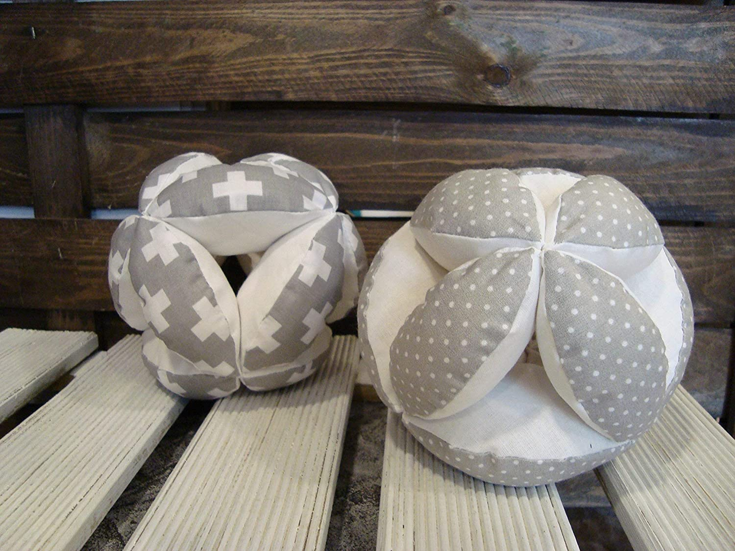 Gray puzzle ball, Montessori baby toy, fabric plus signs ball, gray dots ball, gray swiss cross ball, gray nursery
