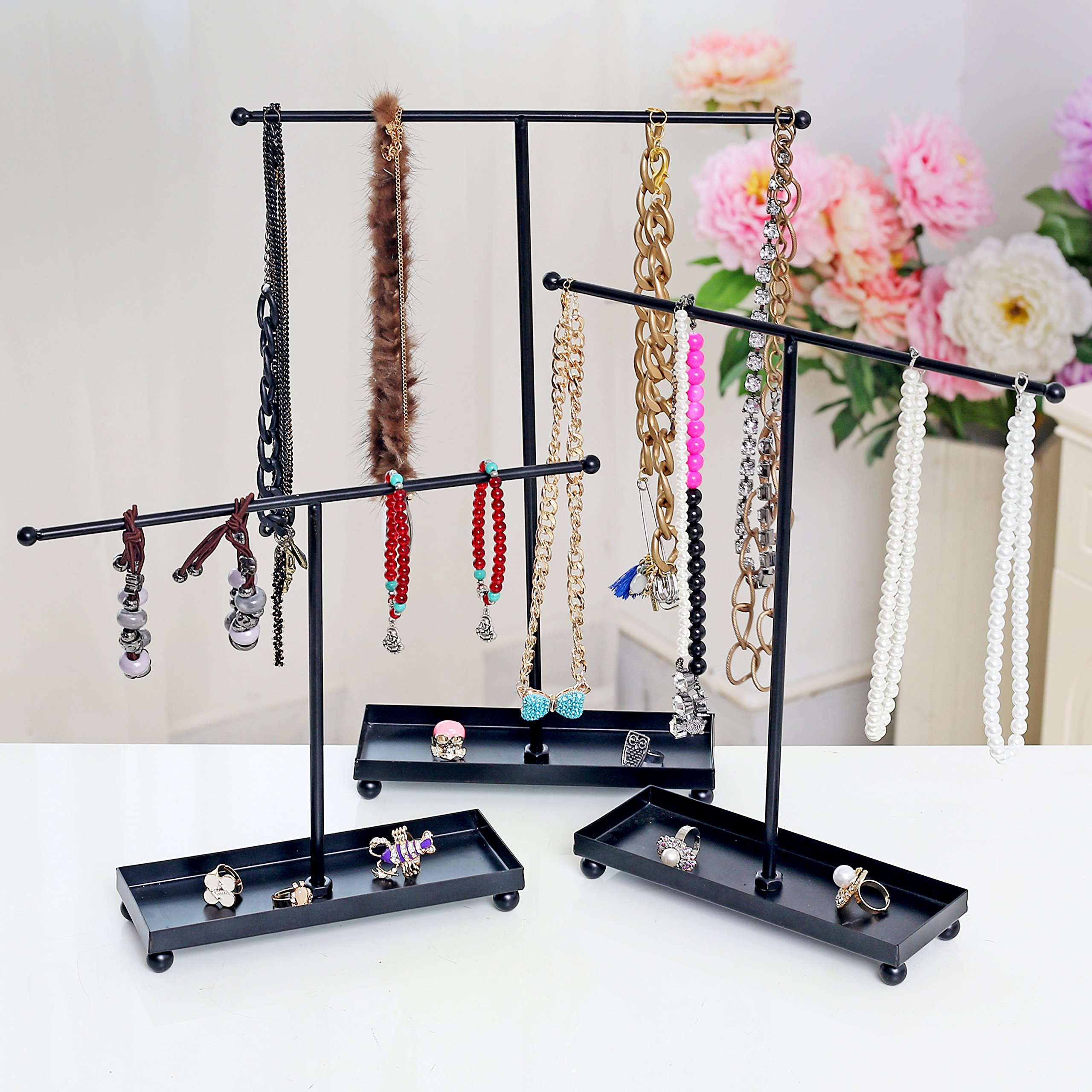 Set of 3 Modern Jewelry Organizers, Tabletop Bracelet & Necklace Hangers w/ Ring Dish, Black