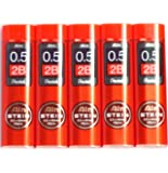 Pentel Ain Pencil Leads 0.5mm 2B, 40 Leads X 5 Pack/total 200 Leads (Japan Import) [Komainu-Dou Original Package]
