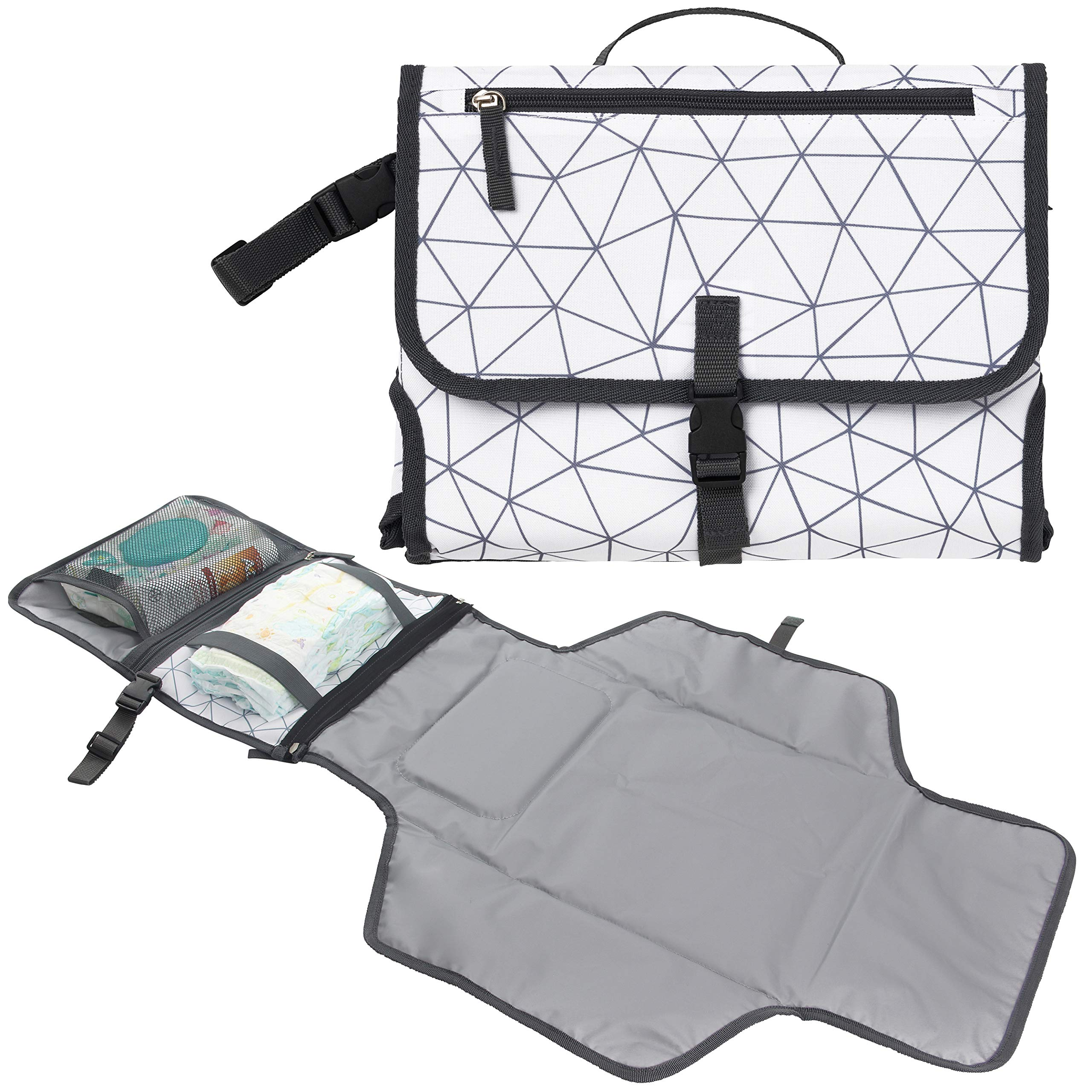 Baby Portable Diaper Changing Pad, Waterproof Travel Changing Mat Station | Built-in Padded Head Rest, Includes Mesh Pockets for Diapers and Wipes, and Adjustable Strap for Strollers by AllSett Baby