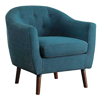 Captivating Homelegance Lucille Fabric Upholstered Pub Barrel Chair, Blue