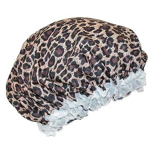 Amazon.com  CTM Women s Satin Leopard Hair Roller Sleep Cap Cover ... 7aa45cd18312