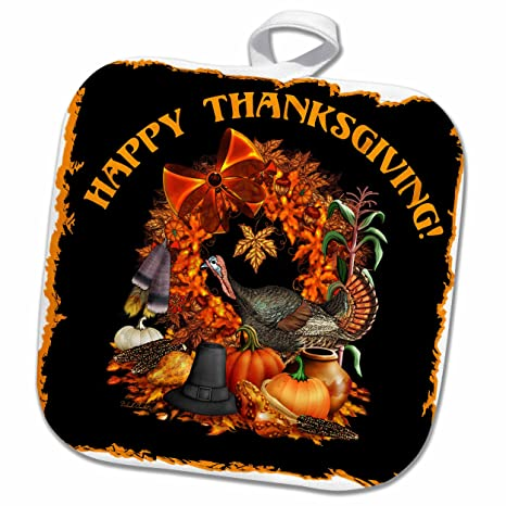 3D Rose Thanksgiving Featuring A Wild Turkey Native American and Pilgrim Themes The Fall Harvest and More Pot Holder 8 x 8