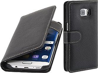 StilGut Talis, custodia in vera pelle per Samsung Galaxy S7 edge con tasche per carte di credito, biglietti da visita e banconote, nero