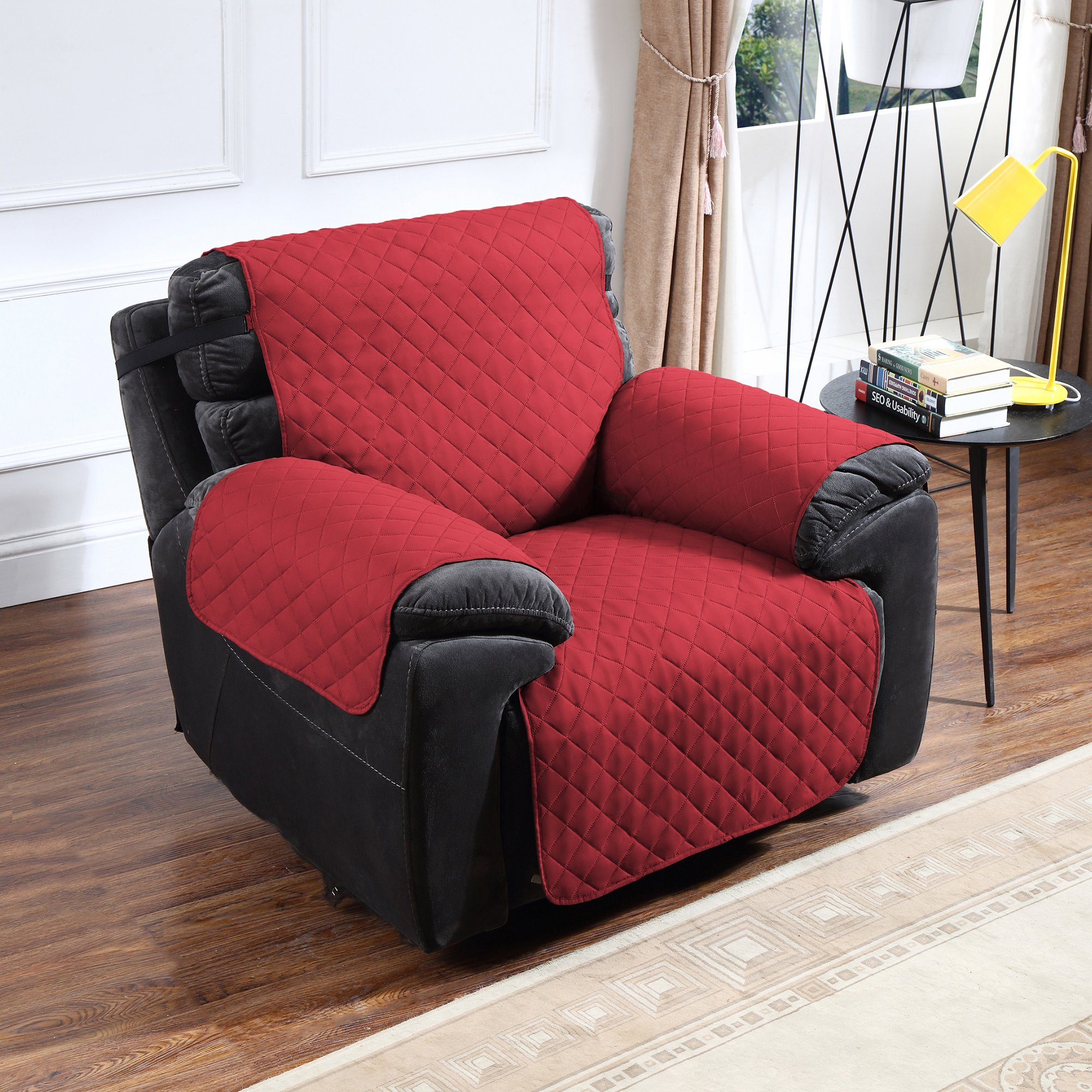 Argstar Reversible Cover of Recliner Chair Furniture Slipcover Home Decor Red/Tan
