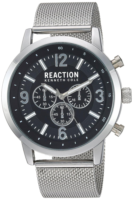 Amazon.com: Title:Kenneth Cole Reaction Mens Quartz Metal Case Silicon Strap Black Casual ,(Model:10030929): Watches