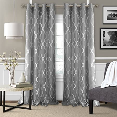 2daae46424abf Newbridge Elrene Bethany Sheer Lattice Pattern Curtain with attached Faux  Silk Woven Blackout Lining