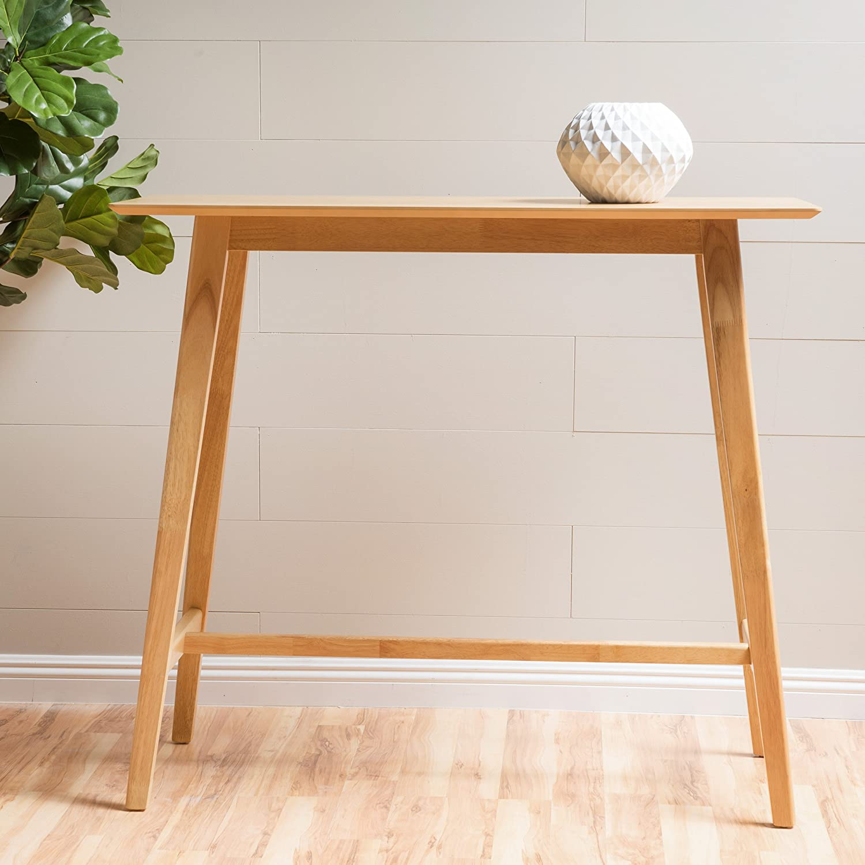 Amazon com margaret natural walnut finish wood bar table kitchen dining