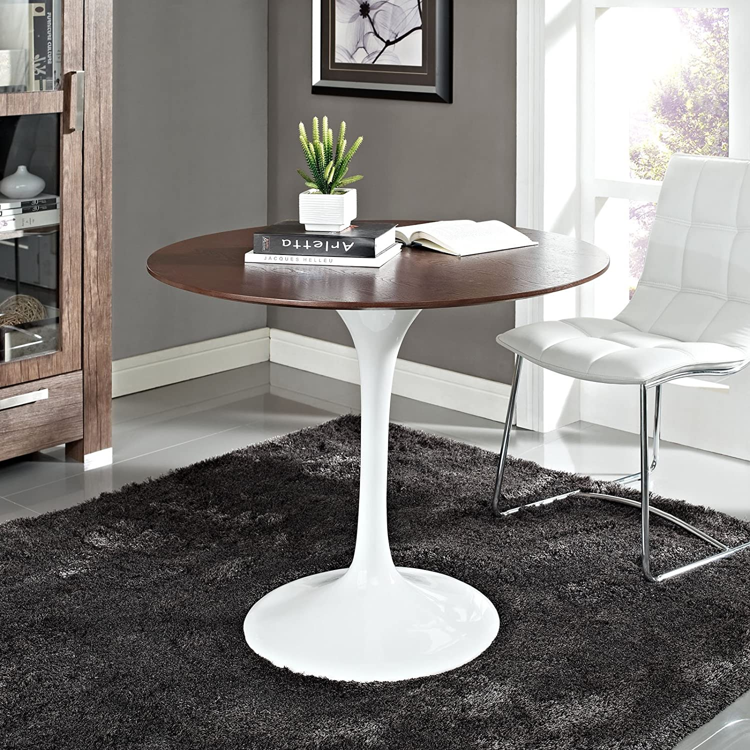 "Modway Lippa 36"" Walnut Dining Table in White"