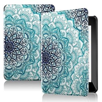 AINOYA Funda para Kindle Paperwhite 10.ª Generación, 2018 Carcasa Ultra Ligera de Cuero Sintético con Función de Auto-Reposo/Activación (Emerald ...