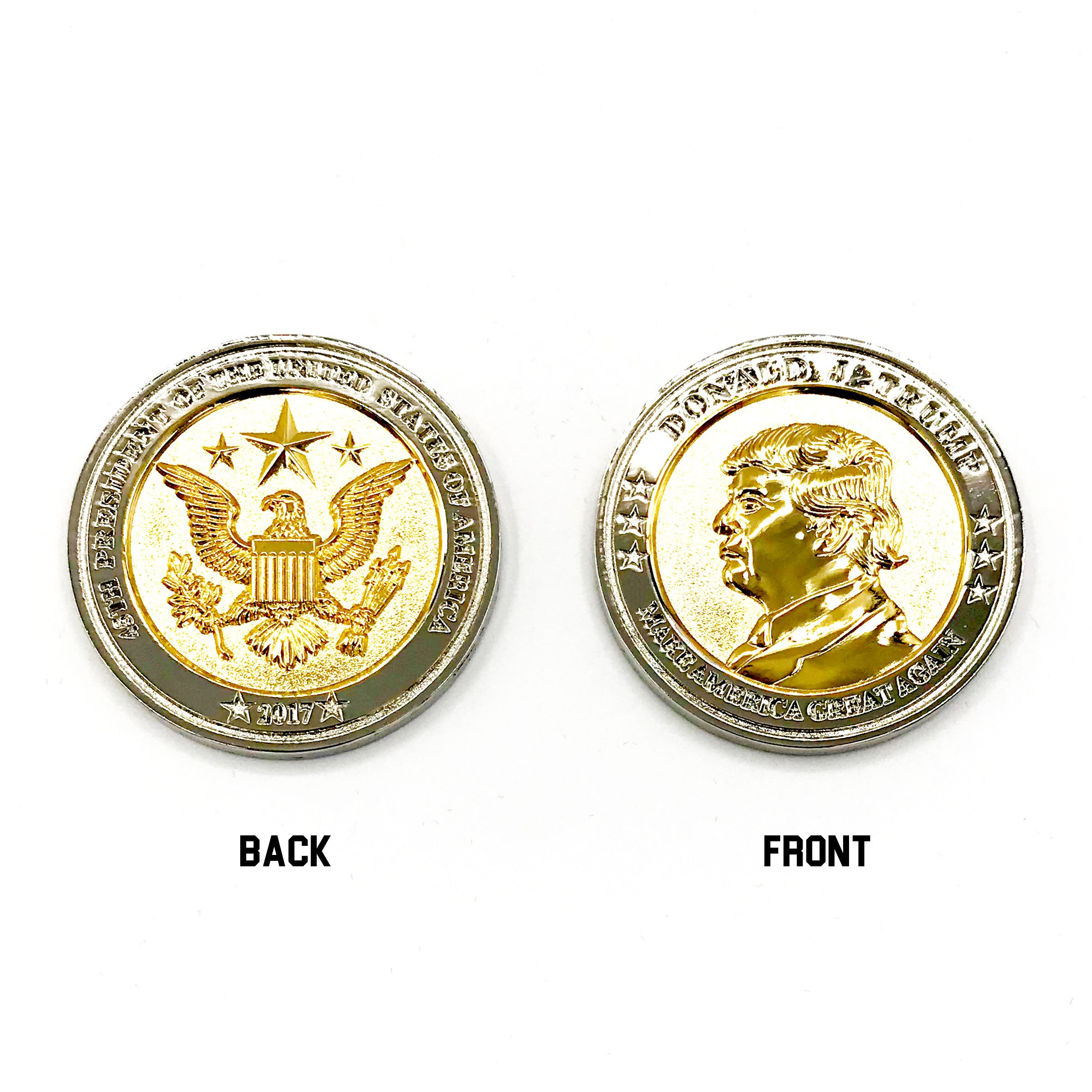 Trump Coin, 58th Presidential Inauguration of Donald J. Trump Challenge Coin by AIIZ Collectibles, 1.75'' Diameter in Shinny 24K Gold & 925 Silver Plating, packaged in Black Velvet Case by AIIZ Collectibles (Image #3)