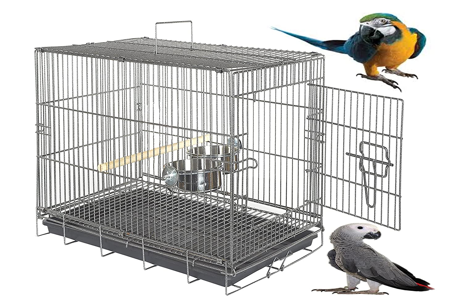 WUNDAPETS EXTRA LARGE MACAW AFRICAN GREY COCKATOO HEAVY DUTY LARGE PARROT TRAVEL CARRYING CAGE