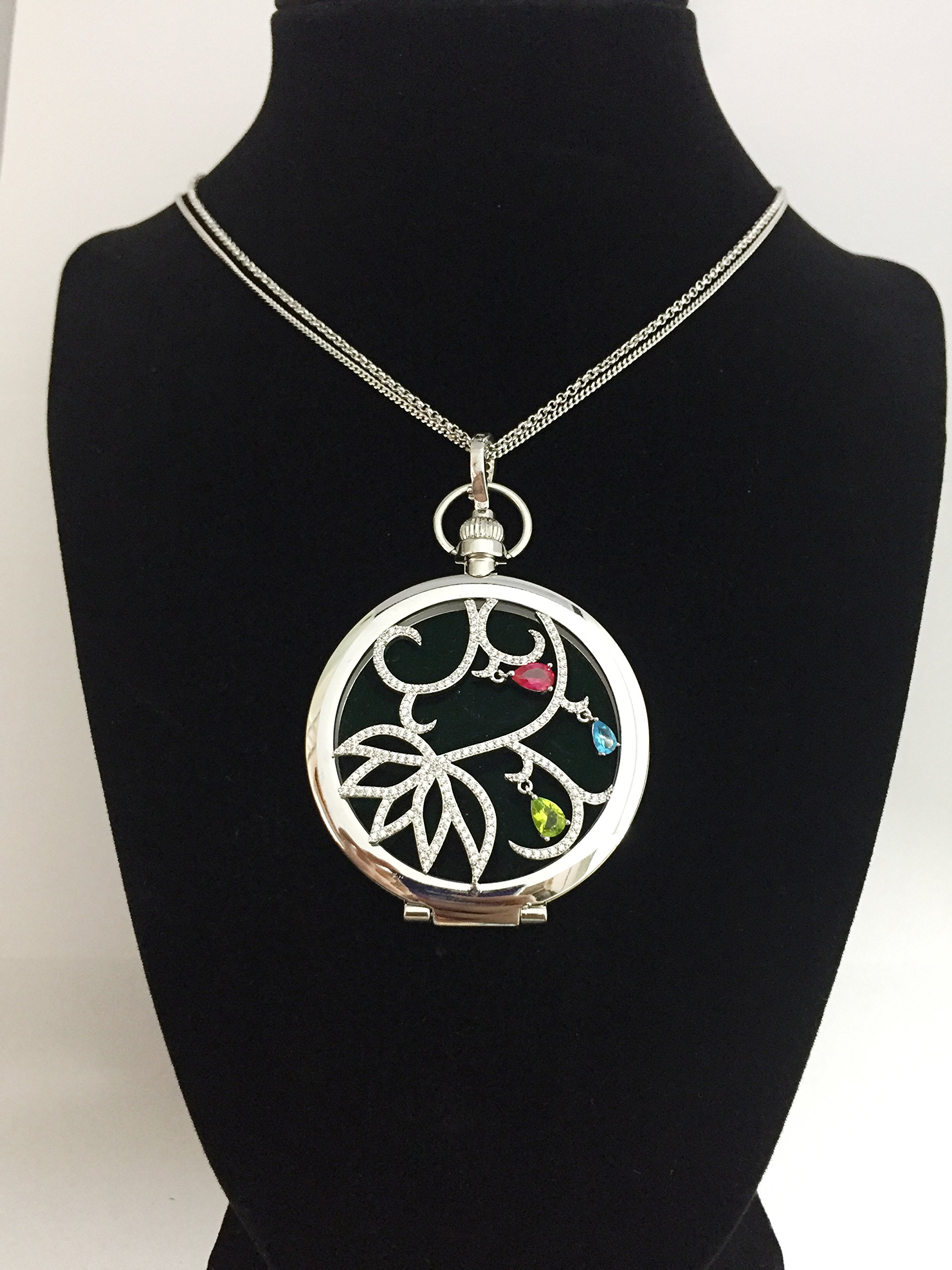 Efluvi Wind Floral Pattern Pendant Jewelry Magnifying Glass Necklace