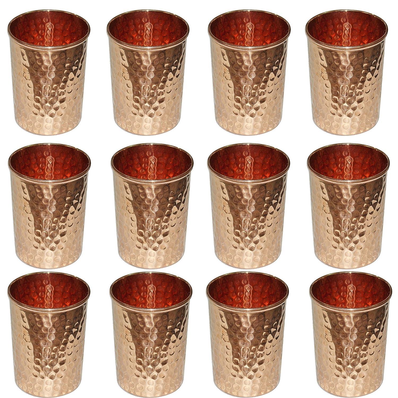 Vasos de agua antiguos vaso de cobre de 8.5 oz para agua, cerveza, cóctel, limonada, té helado y vino, juego de 12 cóctel té helado y vino SKAVIJ TG6_12