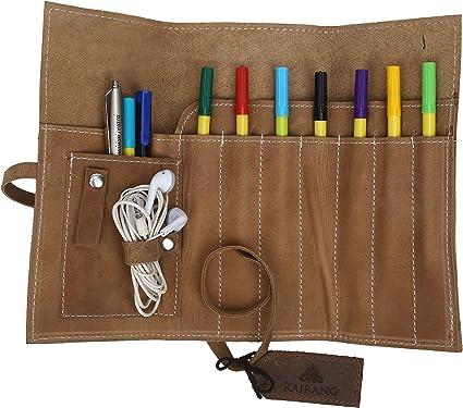 Estuche de cuero Para Pluma Lapiz Pincel de Artistas perfecto para Llevar tu Accesorios Marrón Fresco Buff Leather Estuche lápiz Plegable: Amazon.es: Oficina y papelería