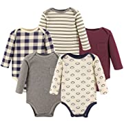 Hudson Baby Unisex Baby Long Sleeve Cotton Bodysuits, Football Long Sleeve 5 Pack, 0-3 Months (3M)