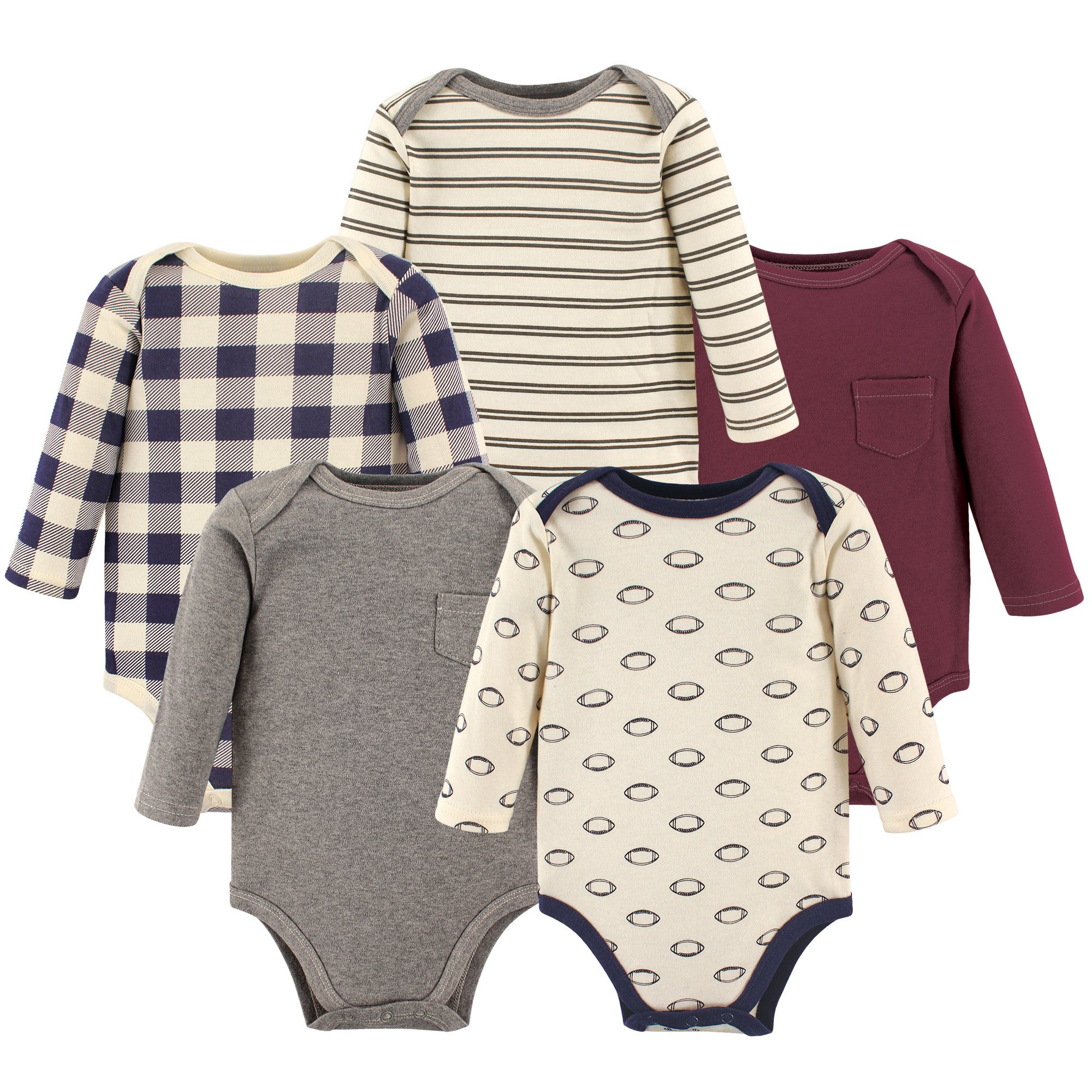 Hudson Baby Long Sleeve Bodysuit 5 Pack, Football, 0-3 Months (3M)