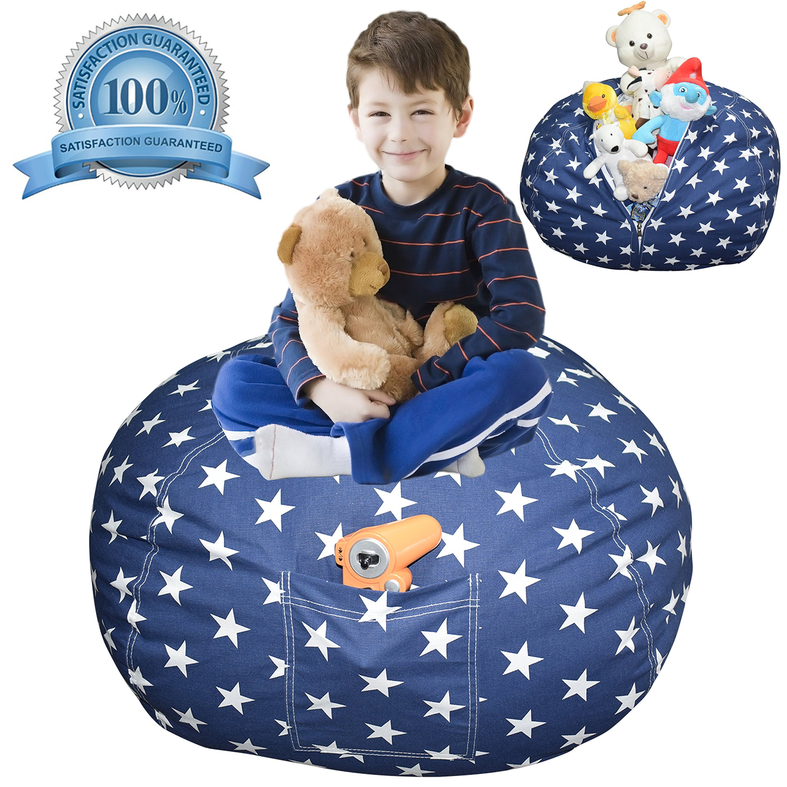 Extra Large Stuffed Animal Storage Bean Bag Cover | Europe Made & Lab Tested Fabric | The Ultimate Storage Solution To Clean Up & Organize Kid's Room | Free E-Book (Unisex Navy Star)