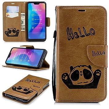 Xiaomi Mi A2 Lite PU Leder Hülle Case Schutzhüllen Flip Wallet Tasche Lederhülle Handy mit [Ständer Funktion] Card Holder Cover Gelb Hello Panda