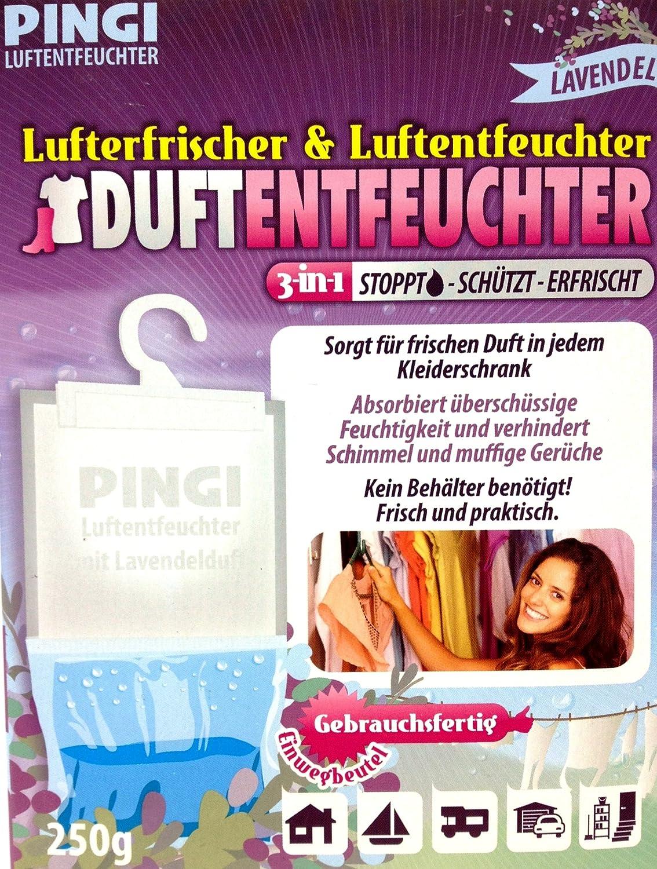 Pingi Luftentfeuchter mit Lavendel Duft 3er Set 3 x 250 Gramm Vertrieb durch Preiswert & Gut