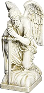 Joseph Studio 40007 Tall Male Angel Kneeling with Sword Garden Statue, 13.25-Inch