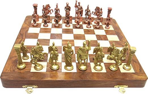 Ages Behind Roman Chess Wooden Chess 16  with Brass Coins Home Decor Gift