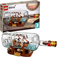 LEGO Ideas Ship in a Bottle 21313 Expert Building Kit, Snap Together Model Ship, Collectible Display Set and Toy for Adults (