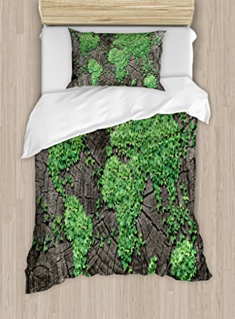 Amazon world map duvet cover set by ambesonne map on tree world map duvet cover set by ambesonne map on tree trunk with green leaves forest gumiabroncs Image collections