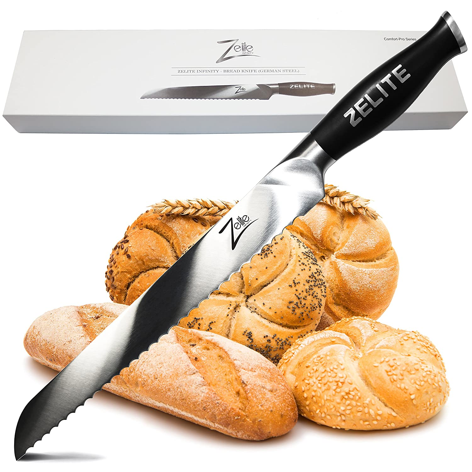 """Zelite Infinity Bread Knife Extra Length - Comfort-Pro Series - High Carbon Stainless Steel Knives X50 Cr MOV 15 >> 10"""" (254mm)"""