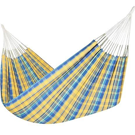 jumbo colombian hammock   double 63 x 95 inches   natural cotton cloth  yellow and amazon     jumbo colombian hammock   double 63 x 95 inches      rh   amazon