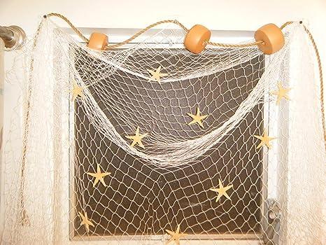 Red de pesca náutica ventana Tratamiento, flotadores, estrella de mar, cuerda, Decor