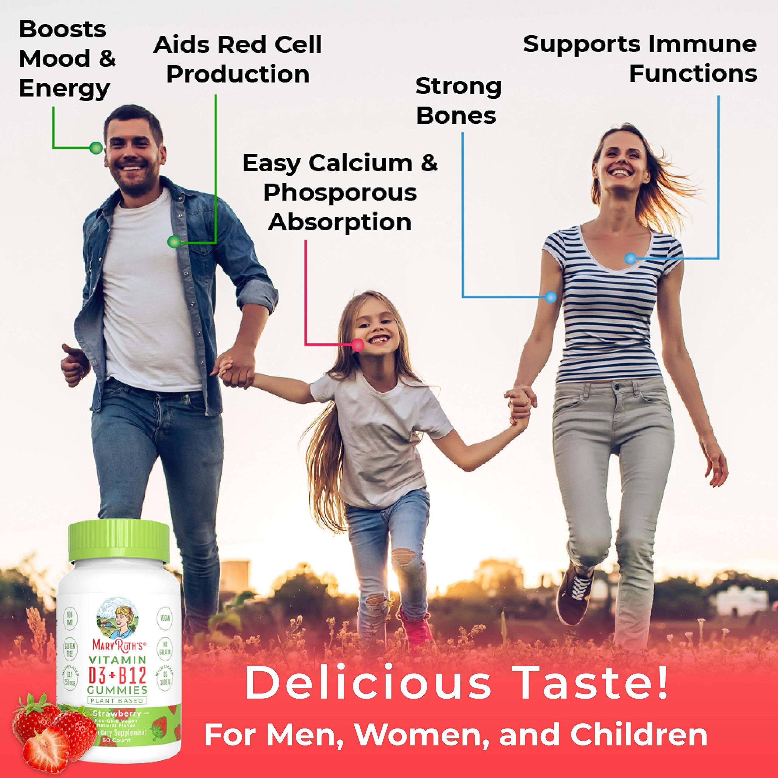Vegan Vitamin D3+B12 Gummy (Plant-Based Gummies) by MaryRuth\'s - Made w/Organic Ingredients Non-GMO Vegan Paleo Gluten Free for Men, Women & Kids 1000 IU Vitamin D3 & 250 mcg Vitamin B12 60 Count