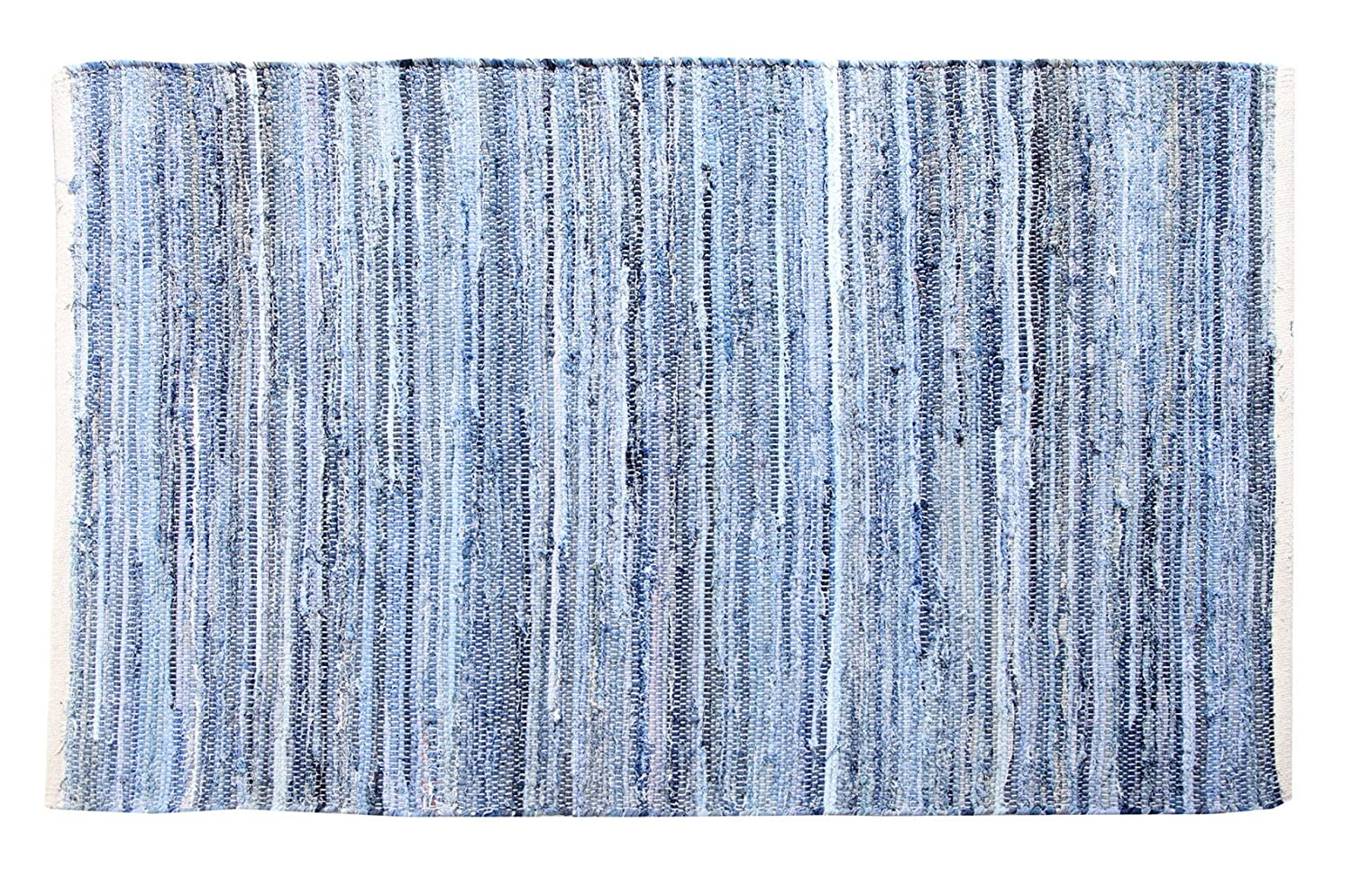 EHC 100 Percent Recycled Cotton Handmade Denim Chindi Floor Rug, 60 x 90 cm Elite Housewares E9-DNMCH6090