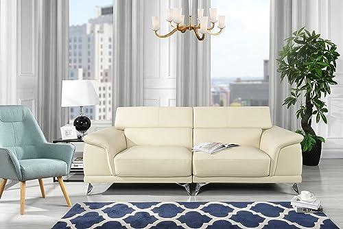 Divano Roma Furniture Modern Living Room Sofa with Adjustable Headrest Beige