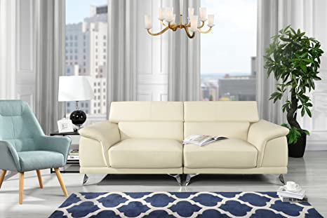 Divano Roma Furniture Modern Living Room Sofa with Adjustable Headrest (Beige)
