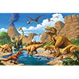 GREAT ART Kid's Room Nursery Poster – Adventure Dinosaur – Picture Decoration Dino World Comic Style Jungle Adventure T…