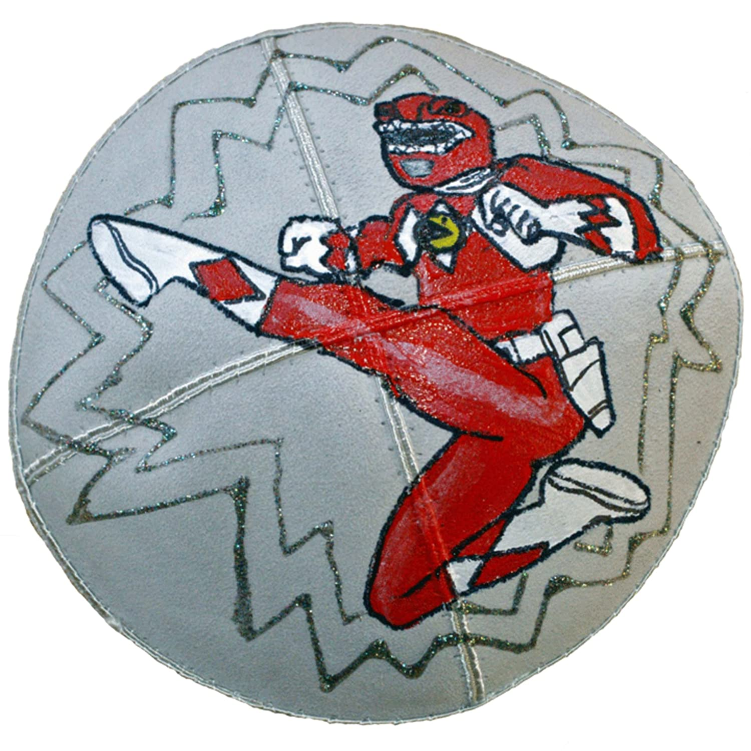 Hand-painted Kippah (Yarmulke) with Red Power Ranger