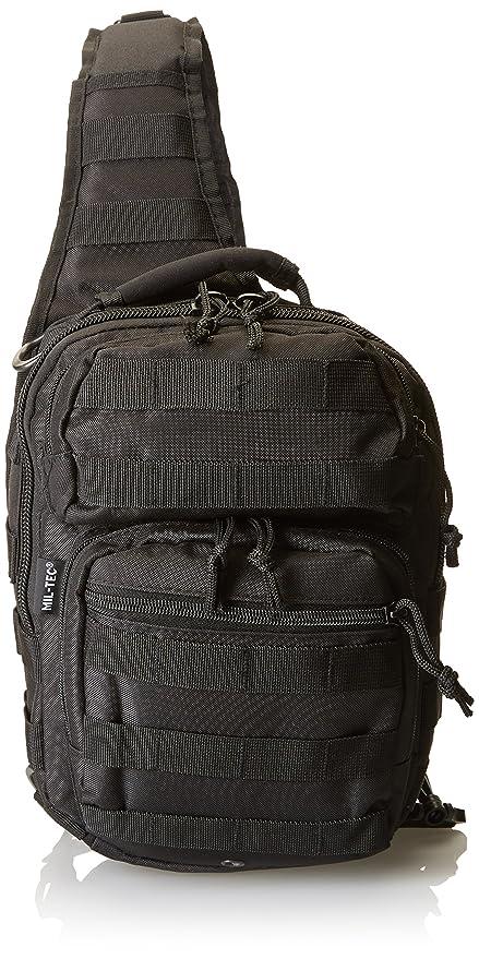 Mil-Tec Single Shoulder Strap 10L Black Tactical Assault Backpack - 14059102