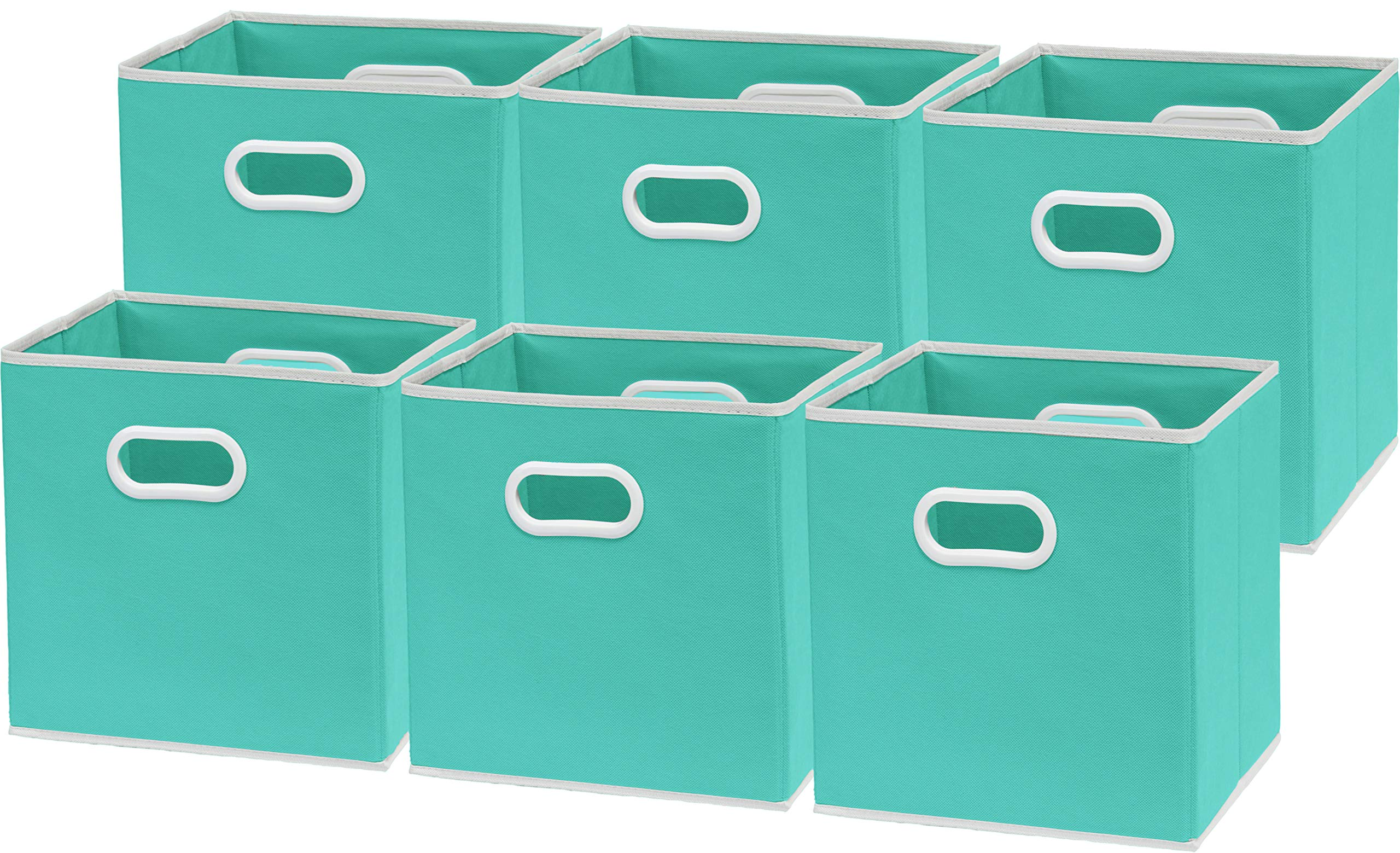 6 Pack - SimpleHouseware Foldable Cube Storage Bin with Handle, Turquoise (12-Inch Cube) by Simple Houseware