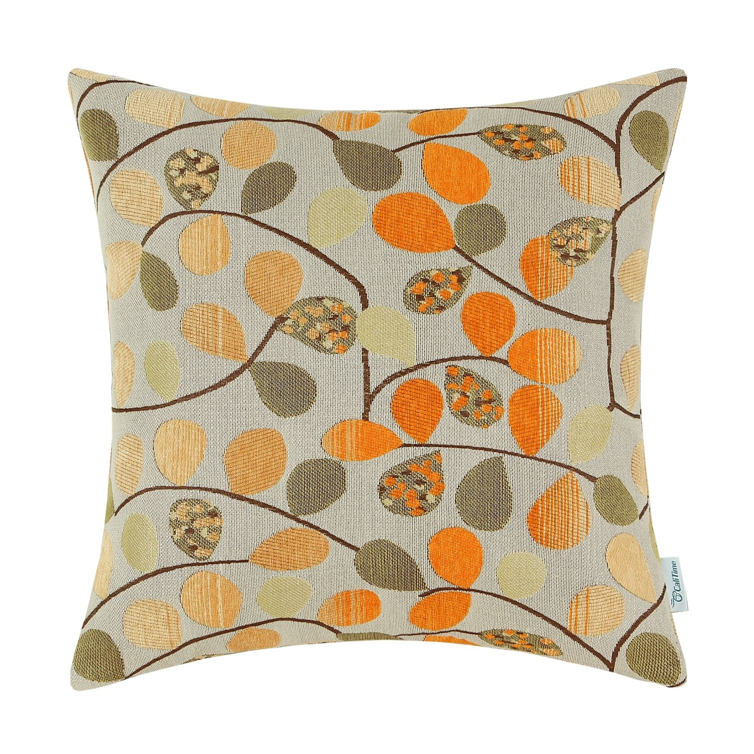 CaliTime Cushion Cover Throw Pillow Case Shell Couch Sofa Home Decoration Luxury Chenille Cute Leaves Both Sides 18 X 18 Inches Ecru Brown Qingdao PT Trading Co. Ltd. DSC0317E