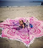 """Popular Handicrafts Large Round Lotus Flower Mandala Tapestry - 100% Cotton - Outdoor Beach Roundie - Hippie Gypsy Boho Throw Tablecloth Wall Hanging Yoga/Picnic/Camping Mat - Pink Purple - 72"""""""