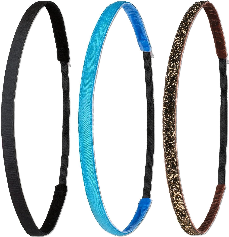 Ivybands®   Das Anti-Rutsch Haarband   3-er Pack   Schwarz Superthin Neon Blau Braun Glitzer   One Size   IVY003 IVY 005 IVY133 IVY003005133