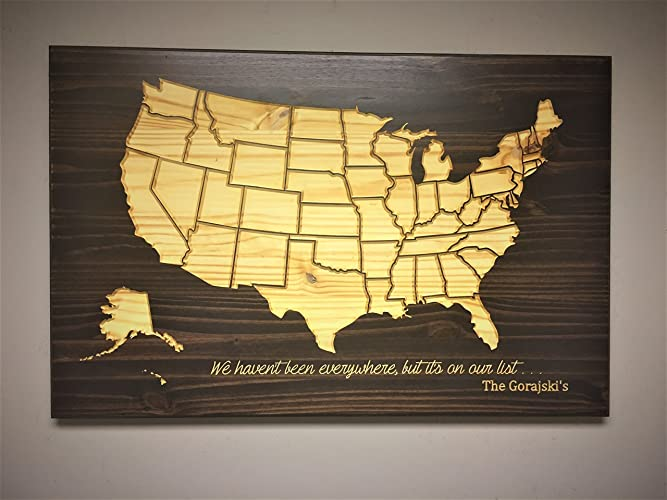 Amazoncom Wood Wall Art Stained Wood Map Wooden Map United - Wood us map