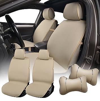 Amazon.com: 580503 Tan - Fabric 2 Front Car Seat Cover Cushions + 2 ...