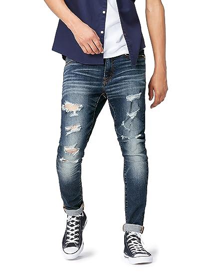 b0dc681affd FIND Men's Jeans with Skinny Leg and Distressed Denim, Blue (Indigo), W31